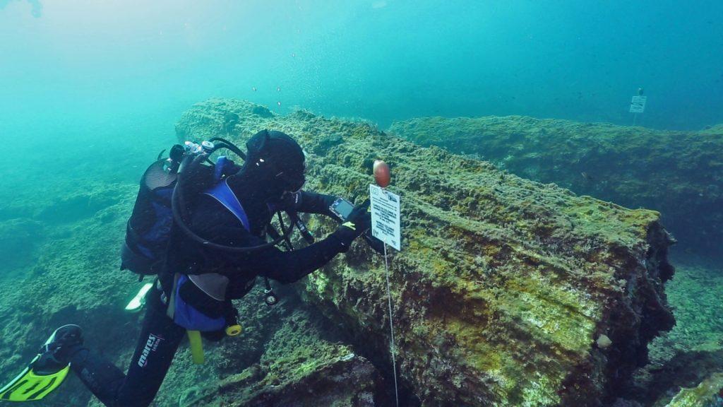 FOTO 03 Itinerario delle colonne di Marzamemi con visore subacqueo photo Salvo Emma ITINERARI ARCHEOLOGICI SUBACQUEI IN SICILIA