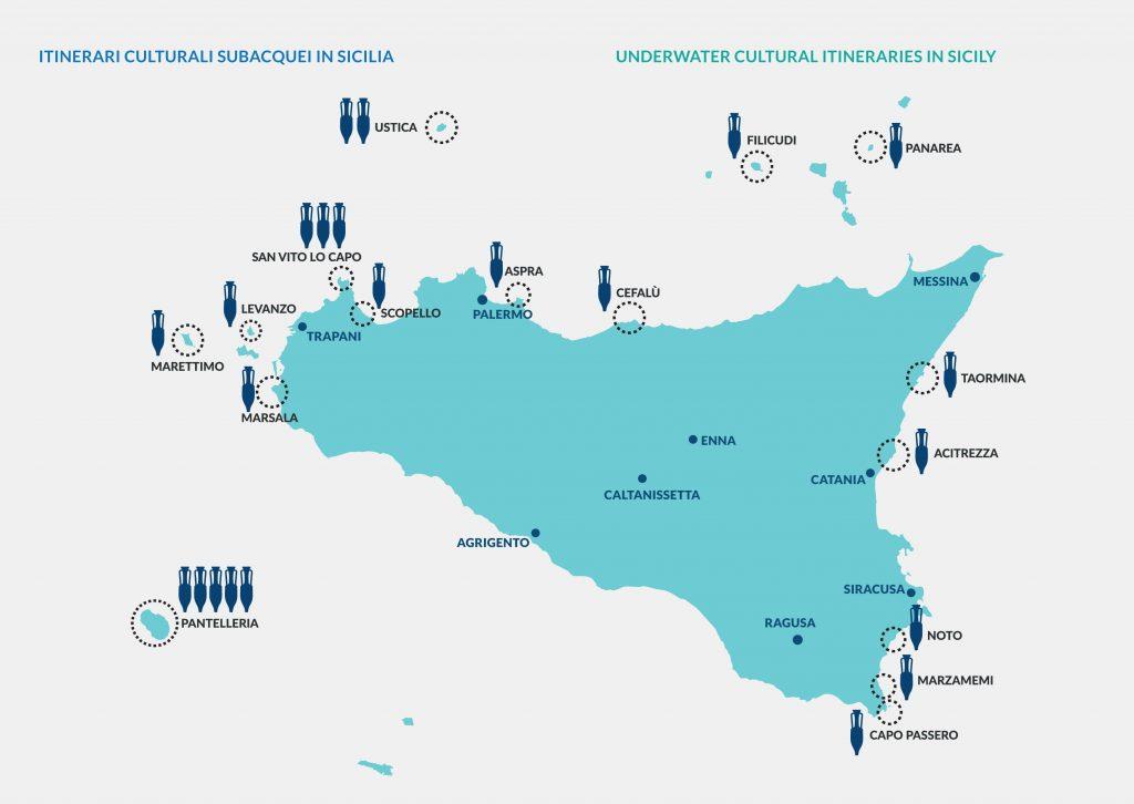 mappa itinerari sopmare ITINERARI ARCHEOLOGICI SUBACQUEI IN SICILIA